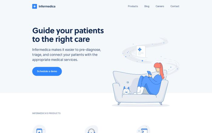 Screenshot of Guide your patients to the right care – Infermedica