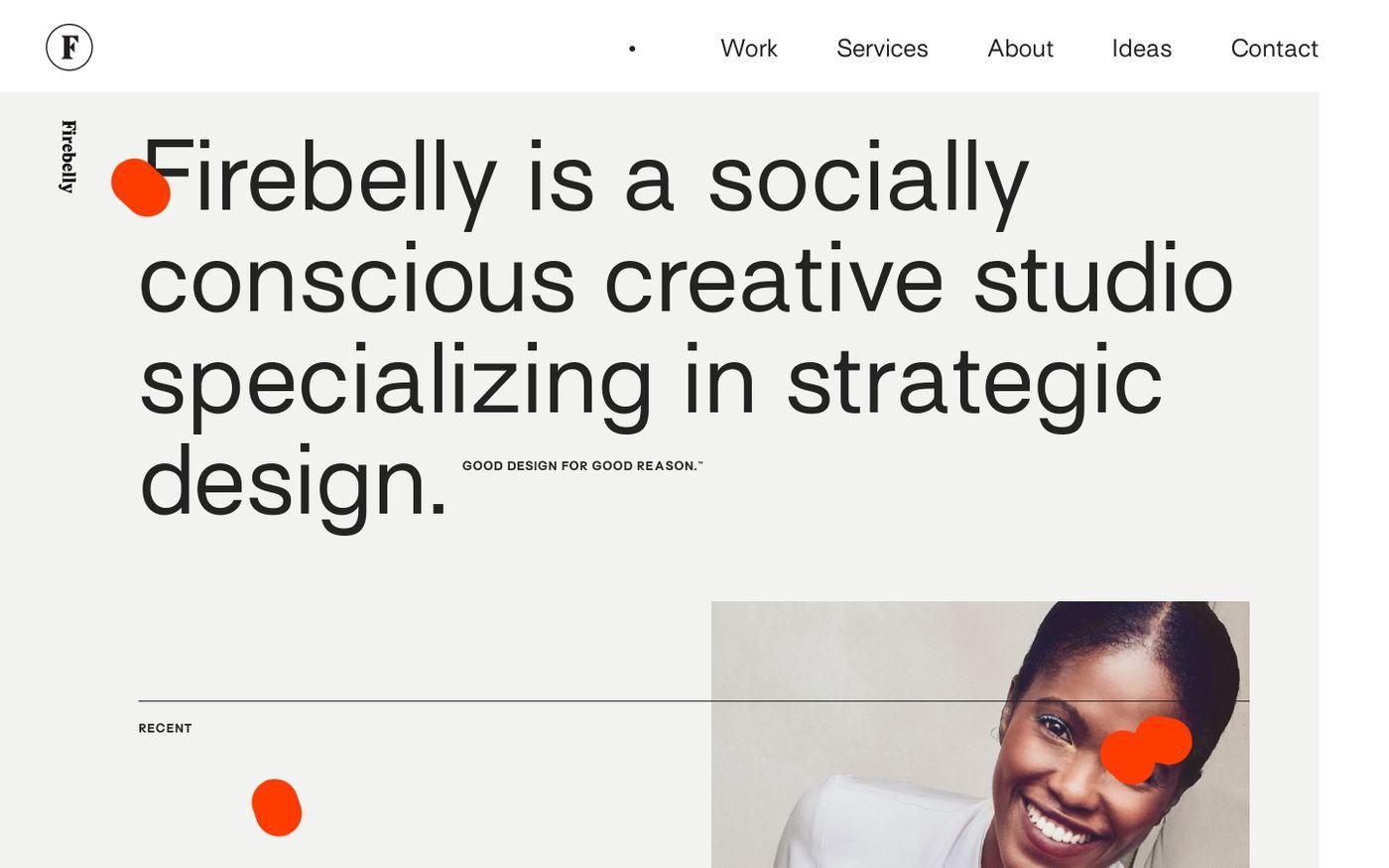 Screenshot of Firebelly design website