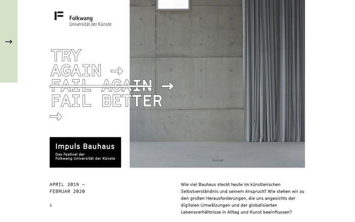 Screenshot of Impuls Bauhaus - Das Festival der Folkwang Universität der Künste | Home