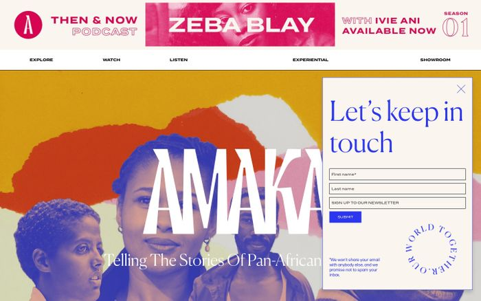 Screenshot of Amaka website