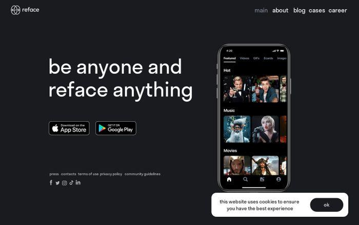 Screenshot of Reface website