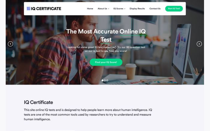 Screenshot of IQ Certificate - Test Your IQ!