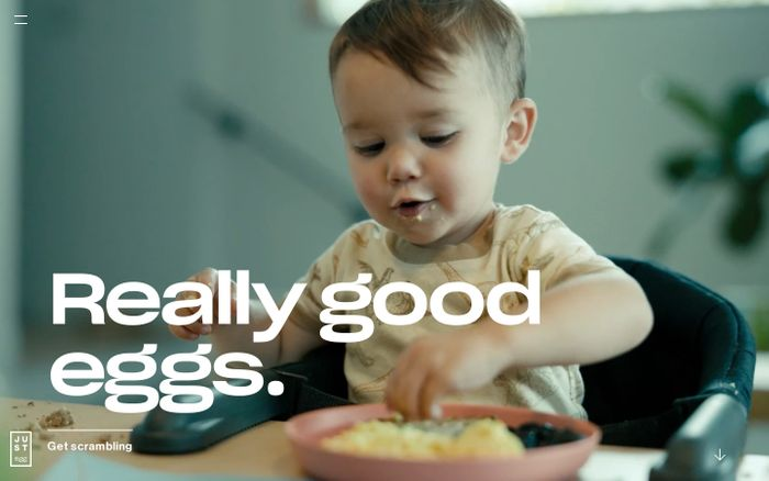 Screenshot of Just Egg website