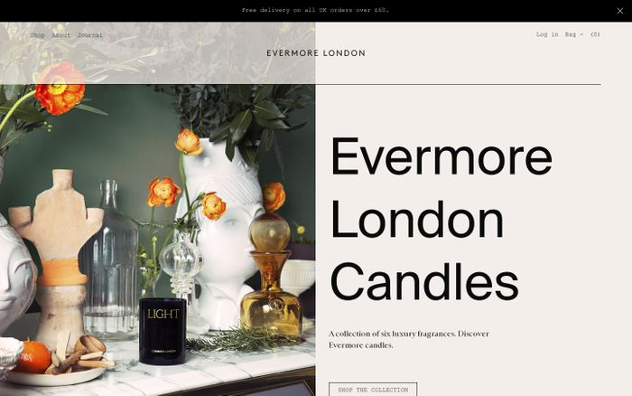 Screenshot of Evermore London Candles | Natural Luxury | Rapeseed & Soy website