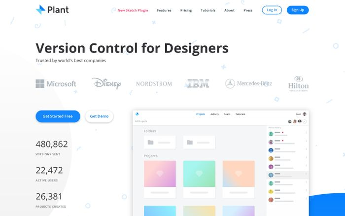 Screenshot of Plant – version control app and Sketch plugin for designers