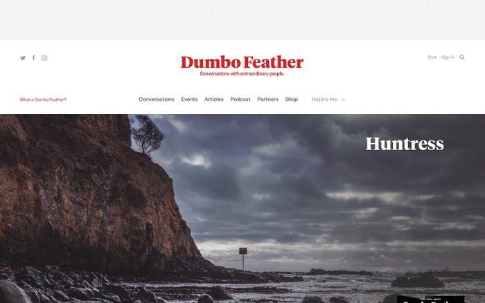Screenshot of Dumbo Feather magazine website
