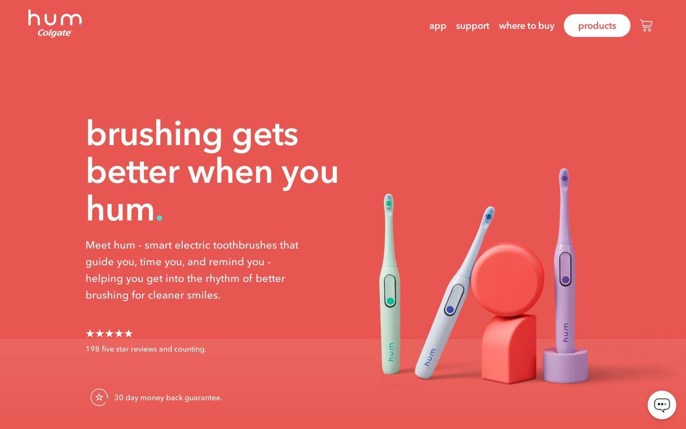 Screenshot of hum website