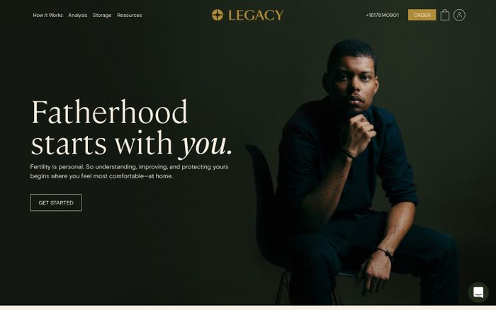 Screenshot of Legacy website