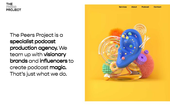 Screenshot of The Peers Project | A specialist podcast production agency.