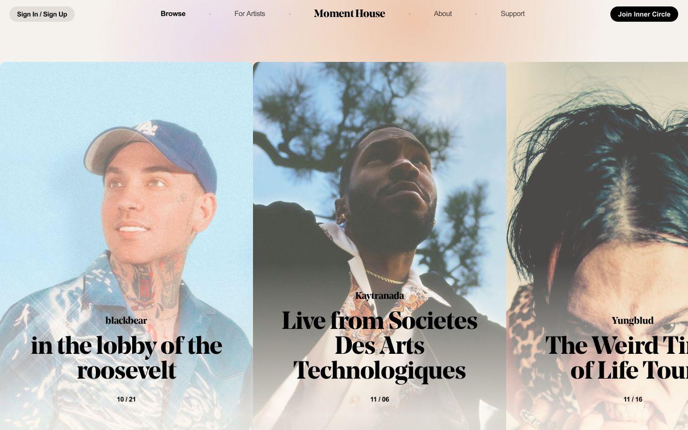 Screenshot of Moment House website