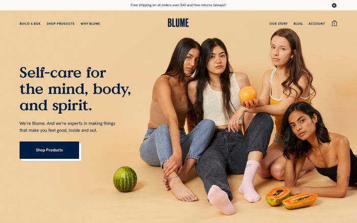 Screenshot of Blume | Self Care and Period Products Inspired By You website