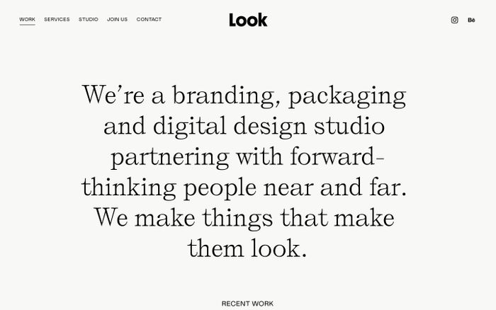 Screenshot of Look Look Studio website