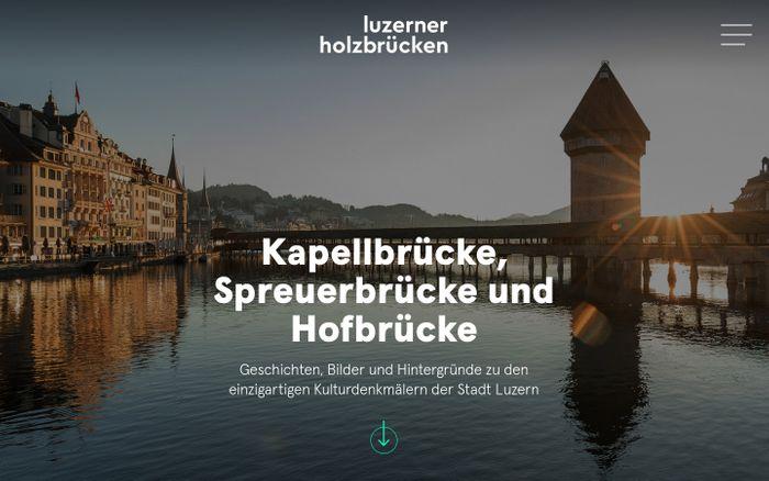 Screenshot of Kapellbrücke, Spreuerbrücke und Hofbrücke | Luzerner Holzbrücken website