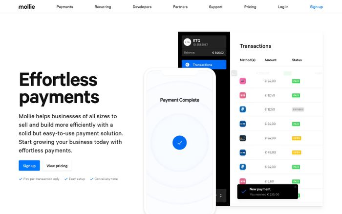 Screenshot of Mollie – Better payments