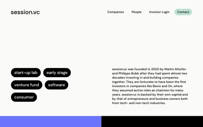 Screenshot of Session.vc website