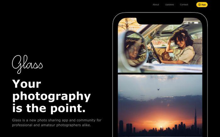 Screenshot of Glass website