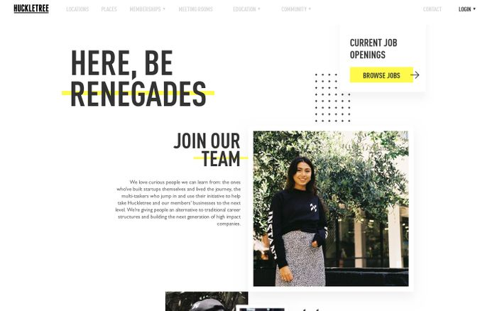 Screenshot of Join Huckletree | Coworking Jobs London, Manchester, Dublin & Oslo website