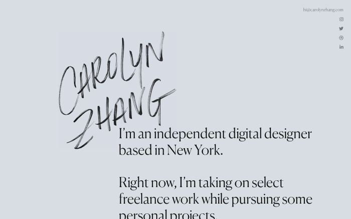 Screenshot of Carolyn Zhang | I'm an independent digital designer based in New York.