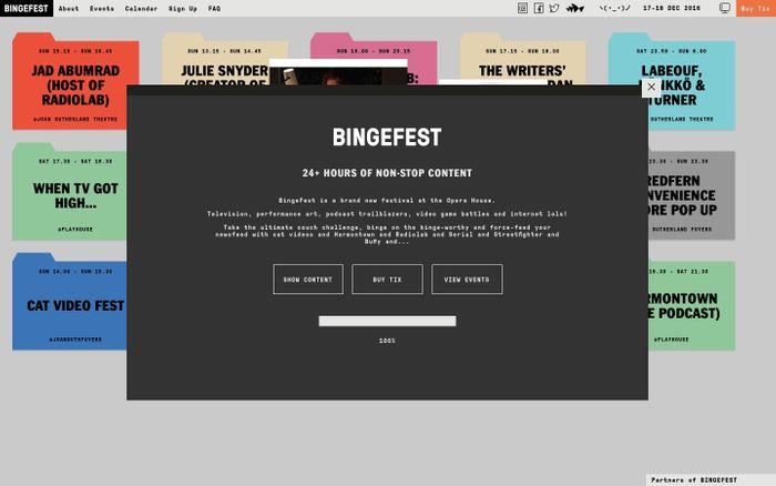 Screenshot of BINGEFEST