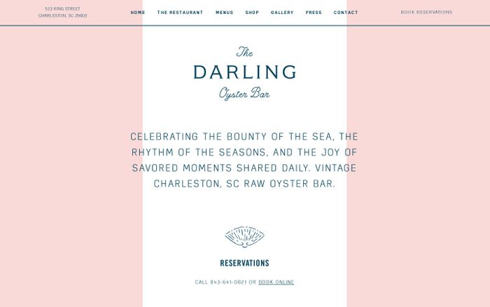 Screenshot of The Darling Oyster Bar – Charleston, SC