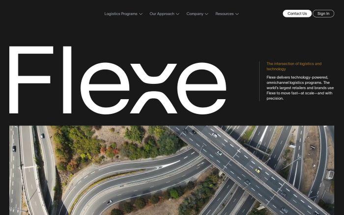 Screenshot of Flexe website