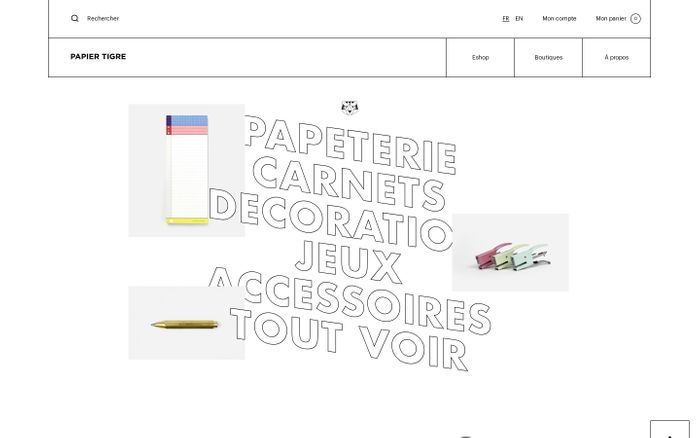 Screenshot of Papier Tigre website
