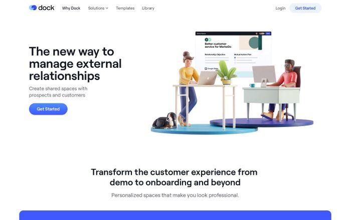 Screenshot of Dock website