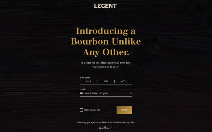 Screenshot of Legent | Kentucky Straight Bourbon Whiskey