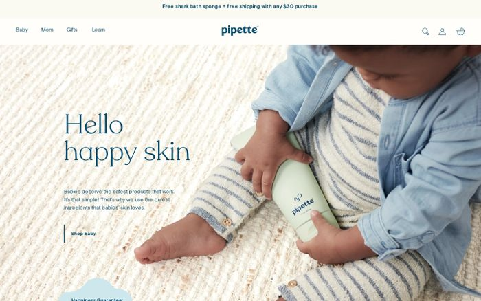 Screenshot of Pipette | Nontoxic, Safe Baby Care Products