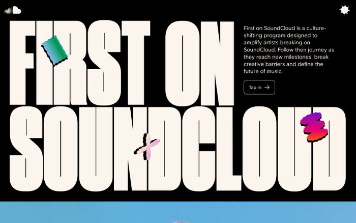 Screenshot of First on Soundcloud website