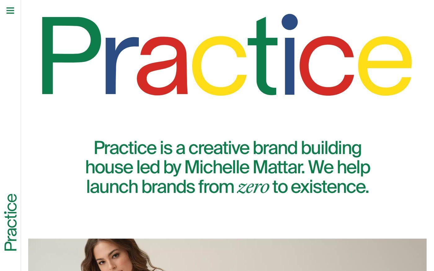 Screenshot of Practice website