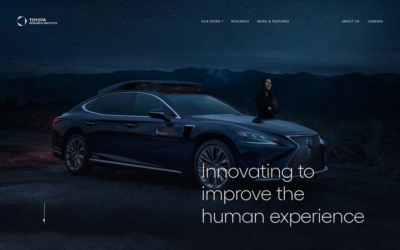 Screenshot of Toyota research institute website