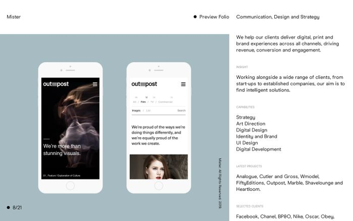 Screenshot of Mister — Communication, Design and Strategy