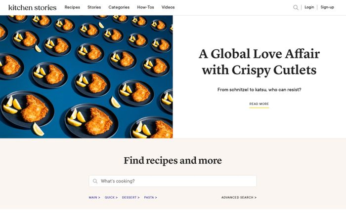 Screenshot of Kitchen Stories | anyone can cook website