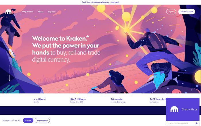 Screenshot of Bitcoin & Cryptocurrency Exchange | Bitcoin Trading Platform | Kraken