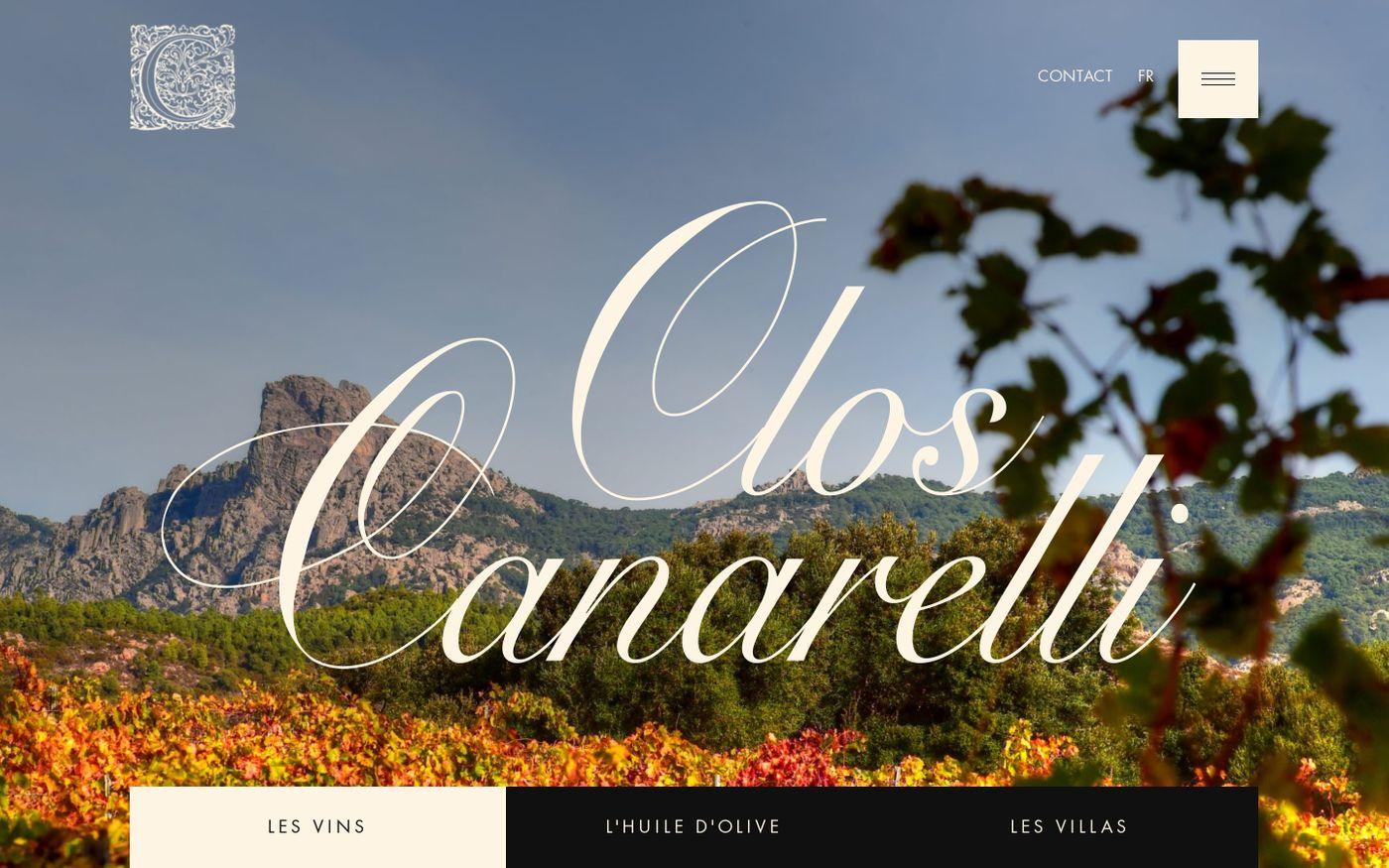 Screenshot of Clos Canarelli website