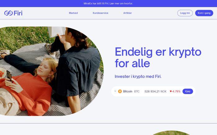 Screenshot of Firi website