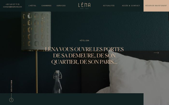 Screenshot of Hôtel Léna website