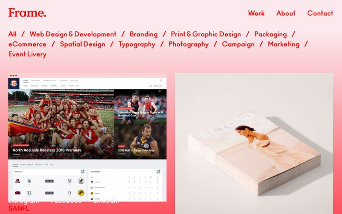 Screenshot of Frame - Creative, Web, Digital & Design in Adelaide