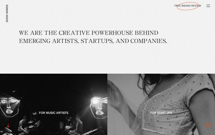 Screenshot of GOOD HANDS | Creative Agency | Music Artists, Startups, Brands