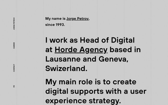 Screenshot of Jorge Petrov – Head of Digital at Horde Agency, Lausanne, Swizerland