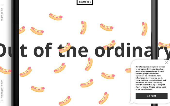 Screenshot of Oxymoron - out of the ordinary creative agency website