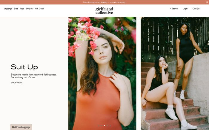 Screenshot of Girlfriend Collective; more than clothes for women who care.