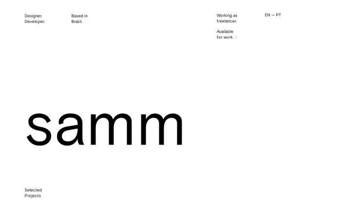 Screenshot of Sam Marxz - Designer and Web Developer based in Brazil.