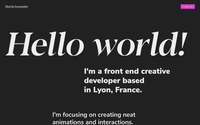 Screenshot of Martin Laxenaire | Creative front-end developer website