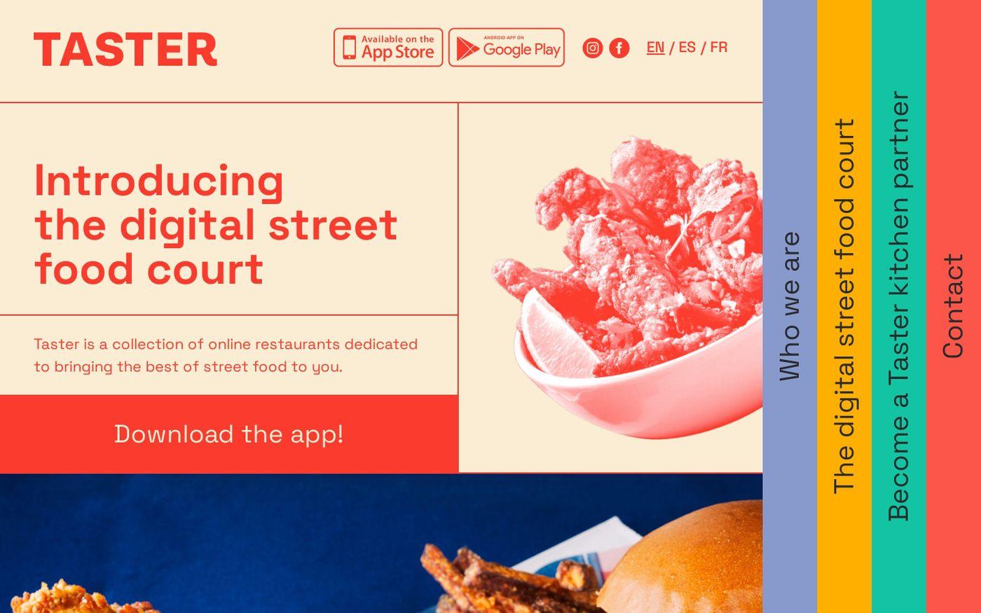 Screenshot of Taster website
