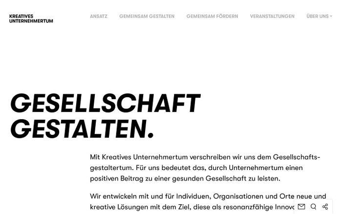 Screenshot of Kreatives Unternehmertum | Gesellschaft gestalten