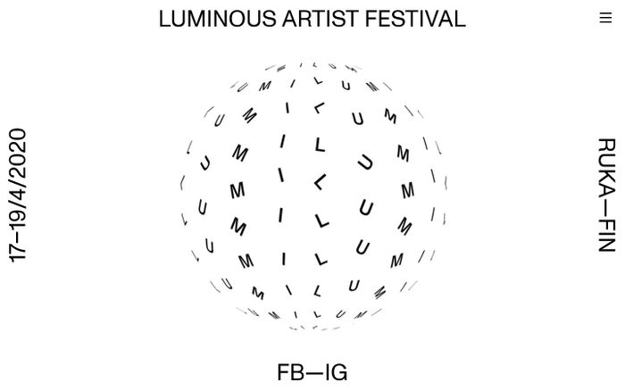Screenshot of Luminous artist festival website