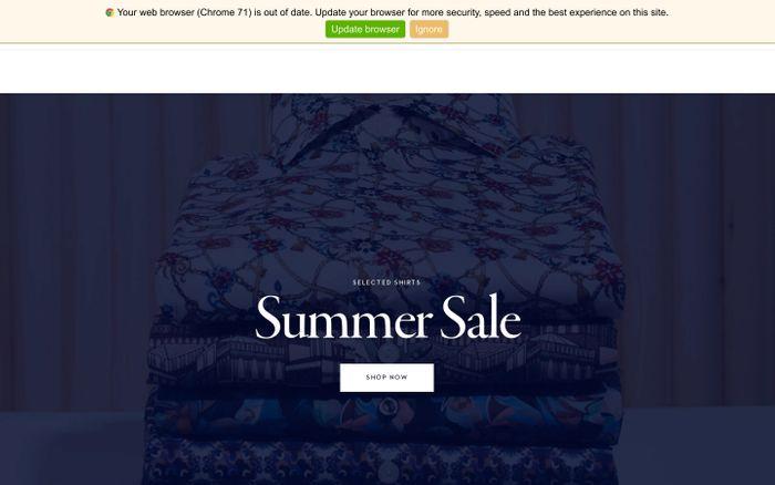 Screenshot of Eton Shirts website