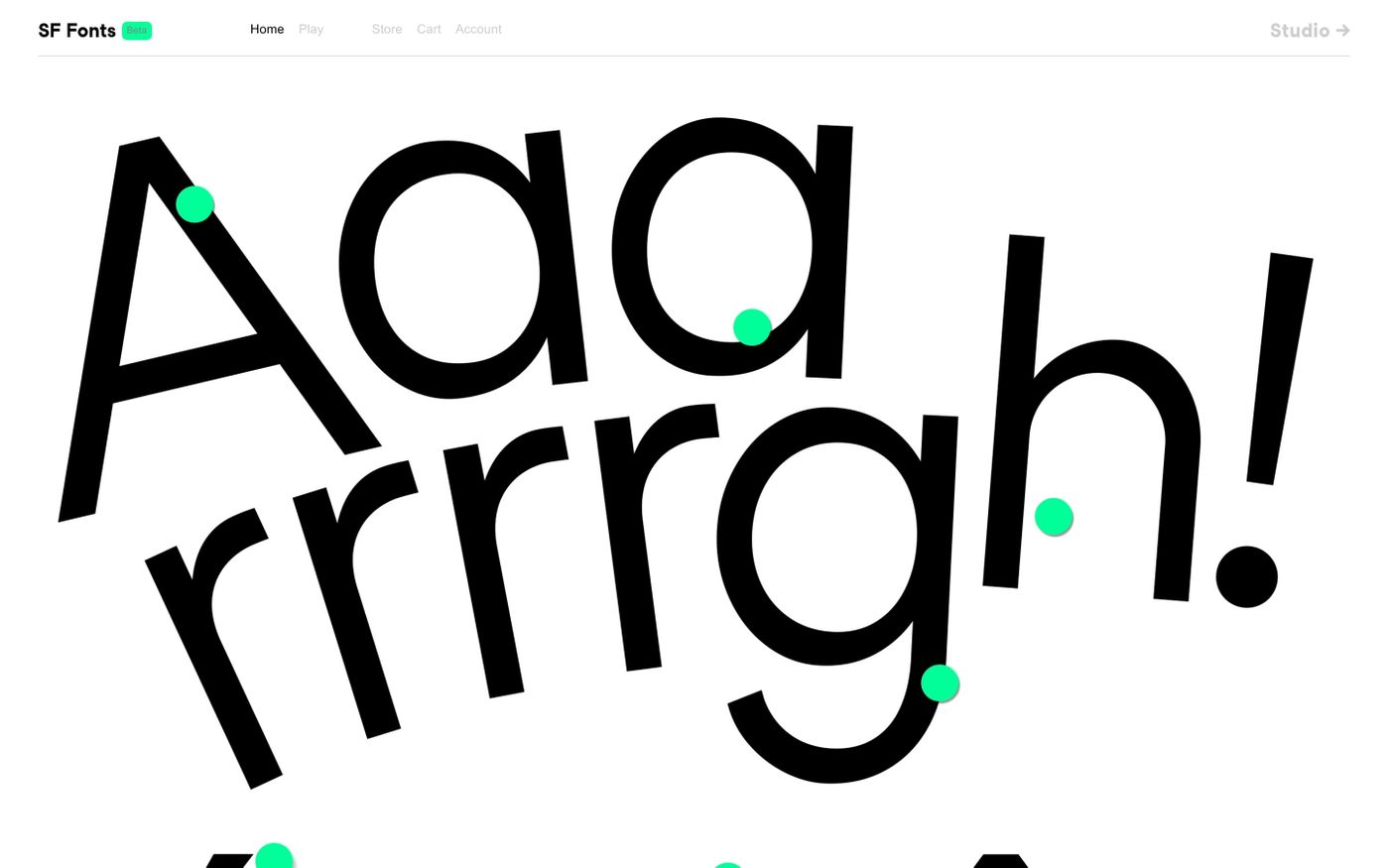 Screenshot of Studio Feixen Fonts website